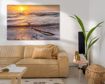 Zonsondergang Hove strand Denemarken van Evert Jan Luchies