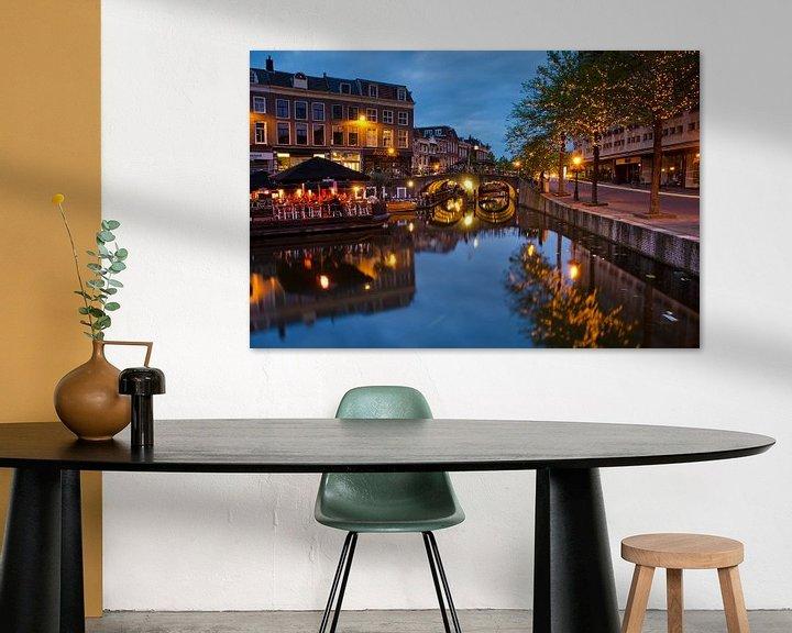 Impression: Centre of Dutch town Leiden after dusk sur Remco Swiers