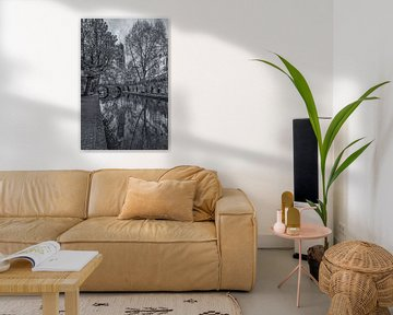 Domtoren, Oudegracht  en Gaardbrug in Utrecht - zwart-wit van Tux Photography