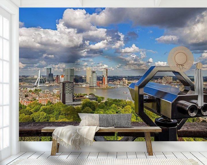 Sfeerimpressie behang: Het uitzicht vanaf de Euromast over Rotterdam van MS Fotografie   Marc van der Stelt