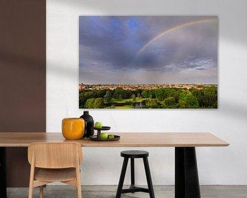 Amsterdam skyline regenboog van Dennis van de Water