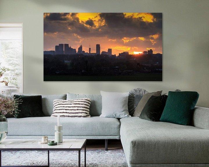 Sfeerimpressie: Den Haag Skyline Silhouet  van Dennis van de Water
