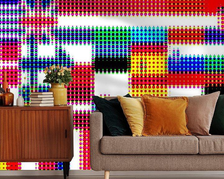 Sfeerimpressie behang: Vlaggen van de Unie 4: rasterpatroon van Frans Blok
