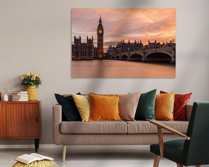 Sfeerimpressie: Zonsondergang in Londen van Thomas van Galen