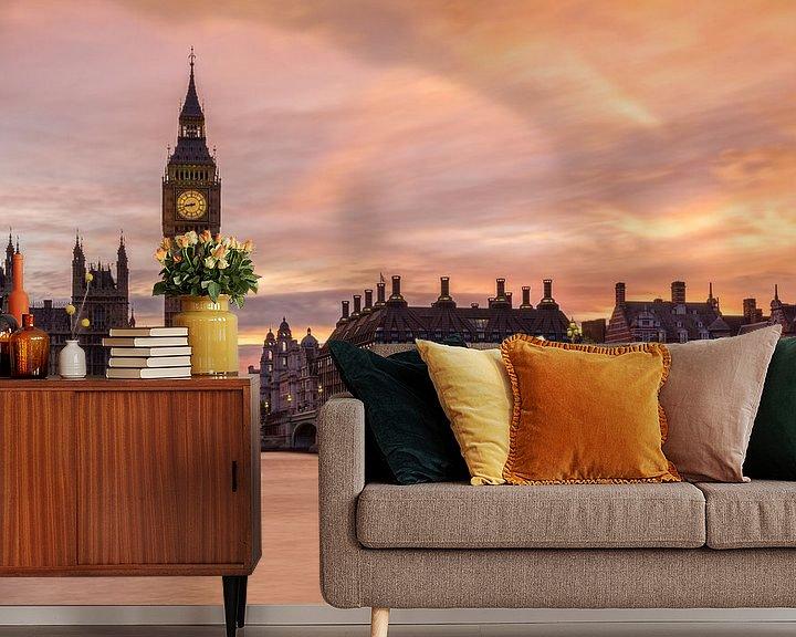 Sfeerimpressie behang: Zonsondergang in Londen van Thomas van Galen