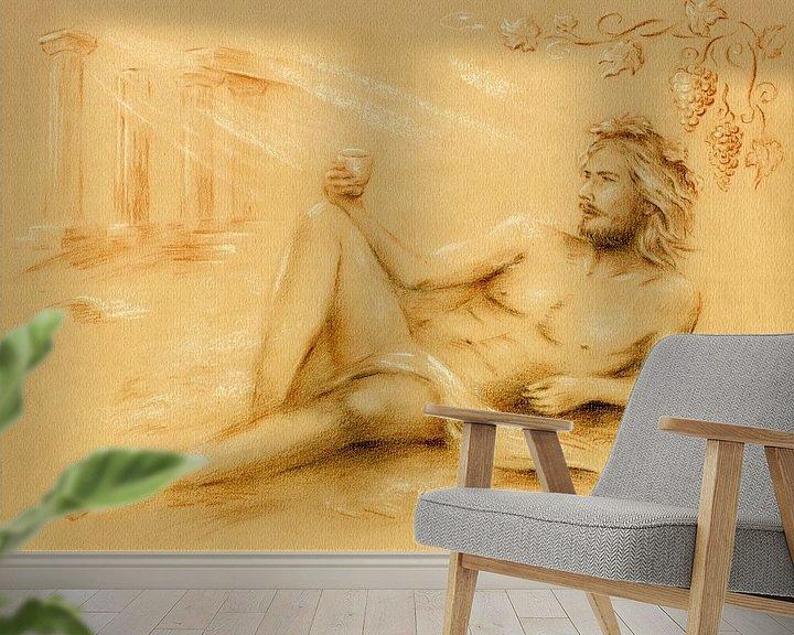 Sfeerimpressie behang: Dionysus god van de wijn - Wijn god Bacchus van Marita Zacharias