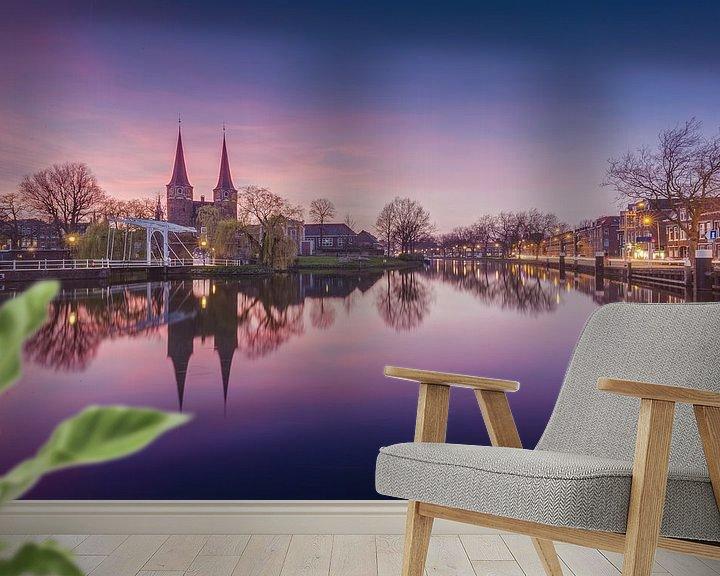 Sfeerimpressie behang: Delft - Oostpoort van Tom Roeleveld