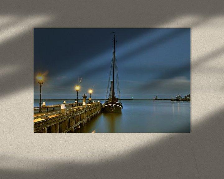 Impression: Hoorn boot aan steiger bij nacht sur John Leeninga