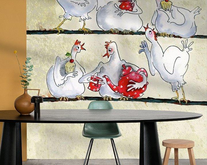Sfeerimpressie behang: Kippenkoffie van Martine van Nieuwenhuyzen