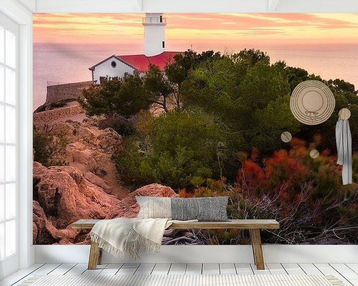 Sfeerimpressie behang: Lighthouse Capdepera (Cala Ratjada / Mallorca) van Dirk Wiemer