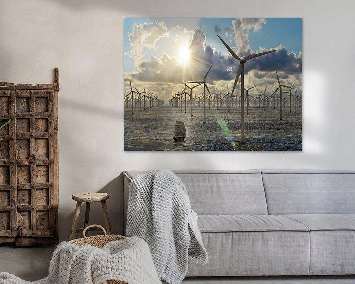 Sfeerimpressie: Duizend windmolens op zee - avondzon van Frans Blok