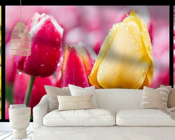 Sfeerimpressie behang: tulpen drieluik  van Fotografie Egmond