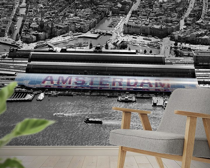 Sfeerimpressie behang: Amsterdam Centraal Station vanuit de lucht gezien van Anton de Zeeuw