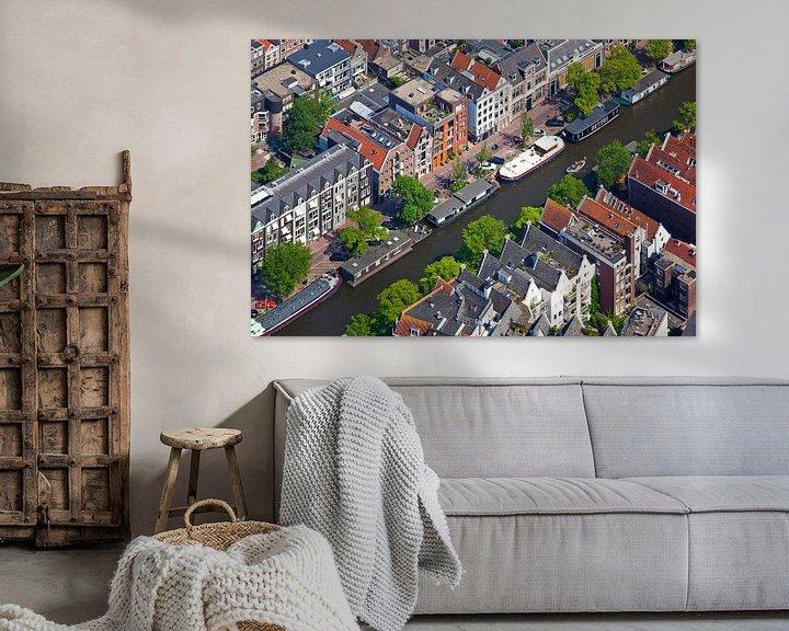 Sfeerimpressie: Luchtfoto grachtenpanden Amsterdam van Anton de Zeeuw
