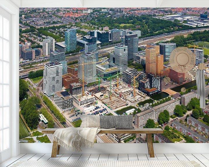 Sfeerimpressie behang: Luchtfoto Zuidas te Amsterdam van Anton de Zeeuw