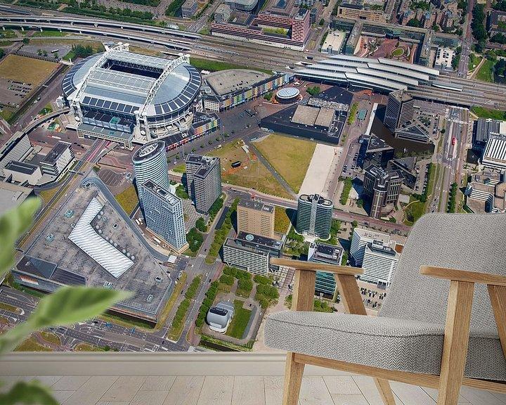 Sfeerimpressie behang: Luchtfoto Arena gebied te Amsterdam van Anton de Zeeuw