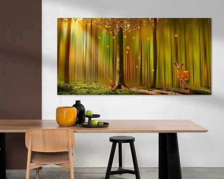 Sfeerimpressie: Herten in de herfst bos van Monika Jüngling
