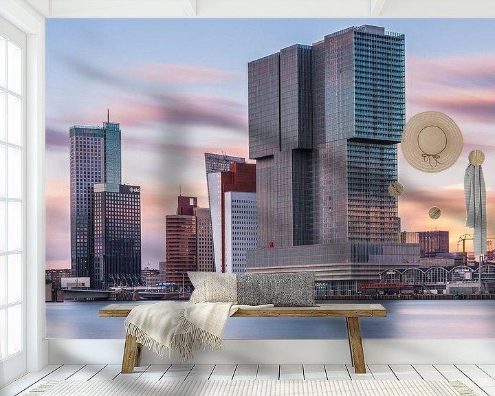 Sfeerimpressie behang: De Rotterdam bij zonsondergang van Ilya Korzelius