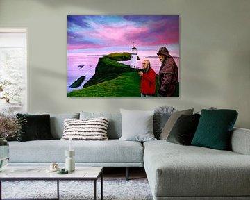 Vuurtoren op Mykines Faeröer van Paul Meijering