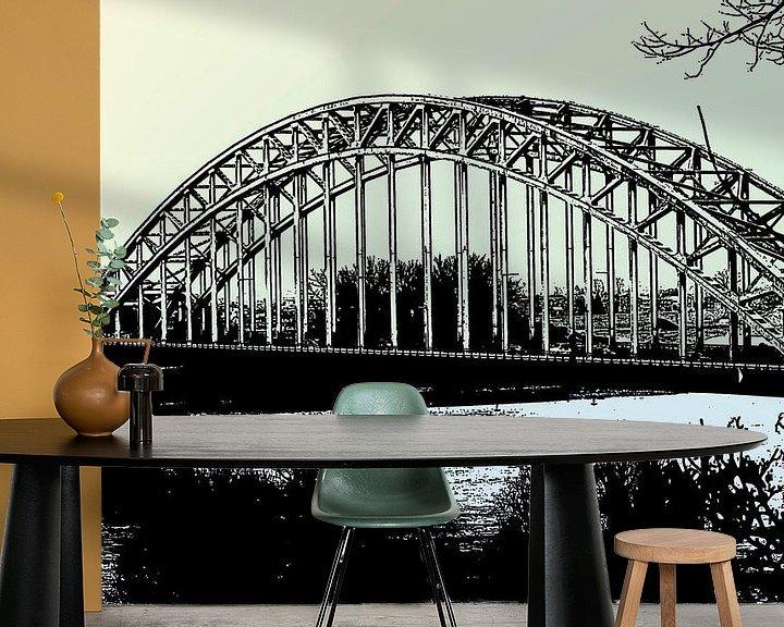 Beispiel fototapete: de waalbrug nijmegen pastel von Groothuizen Foto Art