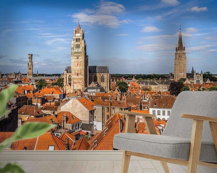 Sfeerimpressie behang: Het stadsgezicht van Brugge van MS Fotografie   Marc van der Stelt
