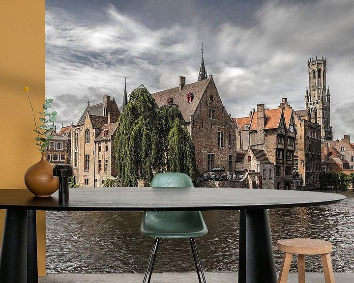 Sfeerimpressie behang: De Rozenhoedkaai in Brugge van MS Fotografie | Marc van der Stelt