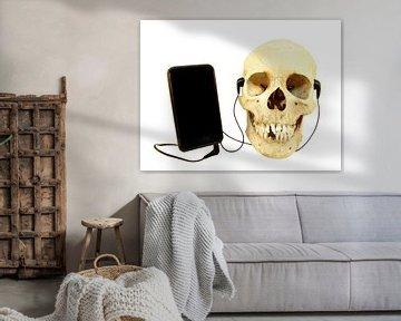 Humor ein menschlicher Schädel hört Musik per Telefon sur Ben Schonewille