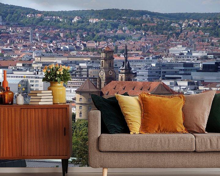 Sfeerimpressie behang: Altes Schloss - Stuttgart Panorama van Yven Dienst