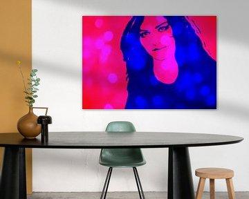 Woman in Blue and Pink van Leo Huijzer