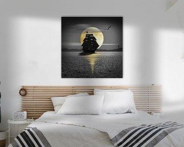 Een schip met zwarte zeilen van Monika Jüngling