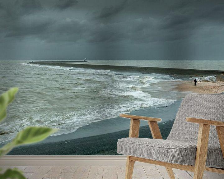 Sfeerimpressie behang: Storm bij de Eemshaven van Koos de Wit