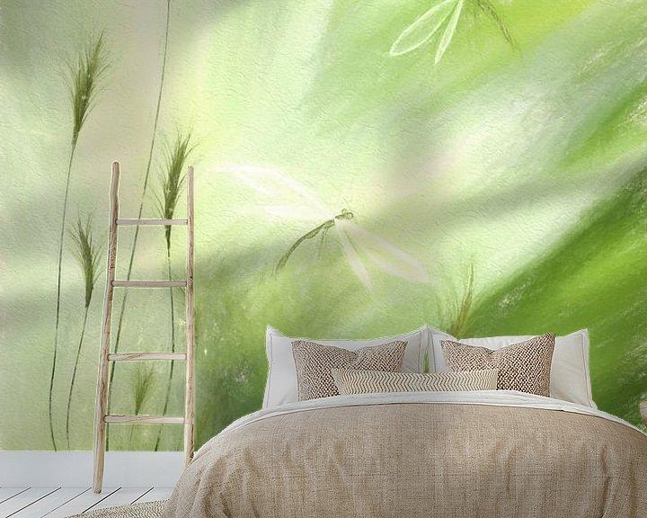 Sfeerimpressie behang: Flowers pastel green collage van Dagmar Marina