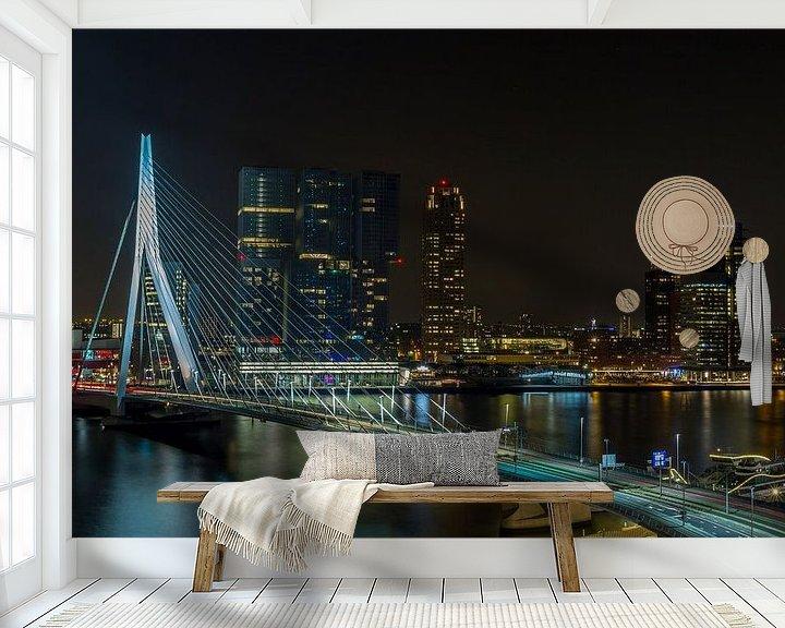 Sfeerimpressie behang: De skyline van Rotterdam met Erasmusbrug van MS Fotografie | Marc van der Stelt