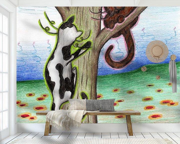 Sfeerimpressie behang: Kleurrijke kattentekening van Gabi Gaasenbeek