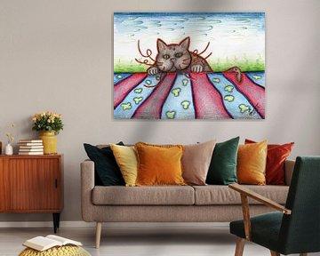 Kleurrijke kattentekening