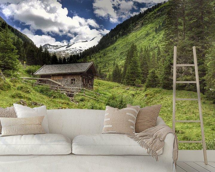 Sfeerimpressie behang: Daar boven op die berg! van Martin Van der Pluym