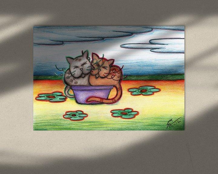 Sfeerimpressie: Kleurrijke kattentekening van Gabi Gaasenbeek