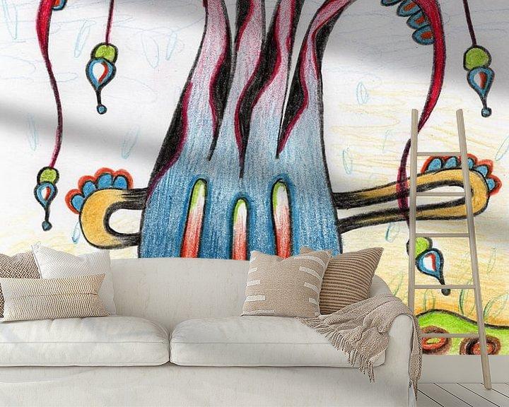 Sfeerimpressie behang: Kleurrijke fantasie tekening van Gabi Gaasenbeek