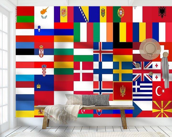 Sfeerimpressie behang: Vlaggen van Europa 1: gerangschikt van Frans Blok