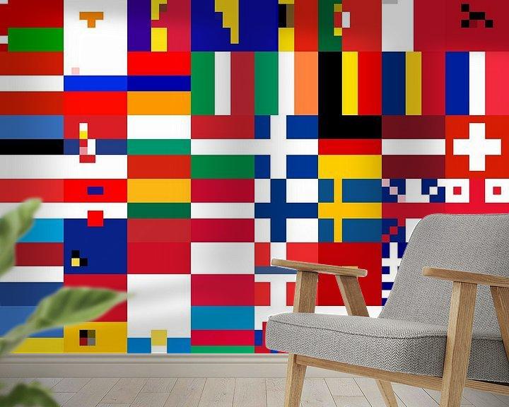 Sfeerimpressie behang: Vlaggen van Europa 3: vereenvoudigd van Frans Blok