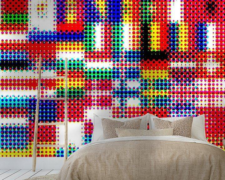 Sfeerimpressie behang: Vlaggen van Europa 4: rasterpatroon van Frans Blok