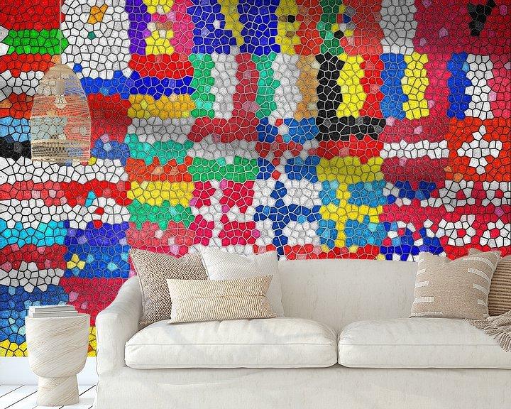 Sfeerimpressie behang: Vlaggen van Europa 6: glas in lood van Frans Blok