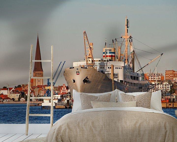 Sfeerimpressie behang: City port of Rostock van Rico Ködder