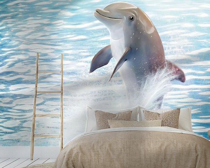 Sfeerimpressie behang: Cute Dolphin van Silvio Schoisswohl