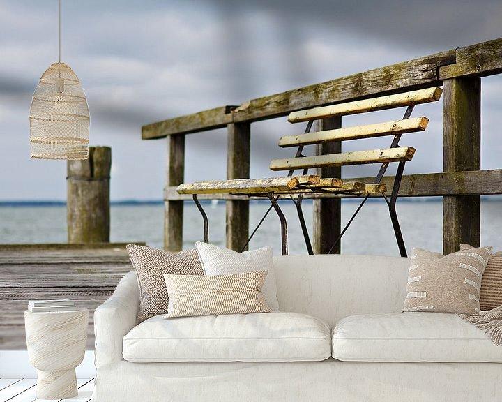 Sfeerimpressie behang: Bench on a pier van Rico Ködder