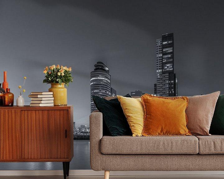 Sfeerimpressie behang: Rotterdam Skyline - Wilhelminapier - 2 van Tux Photography