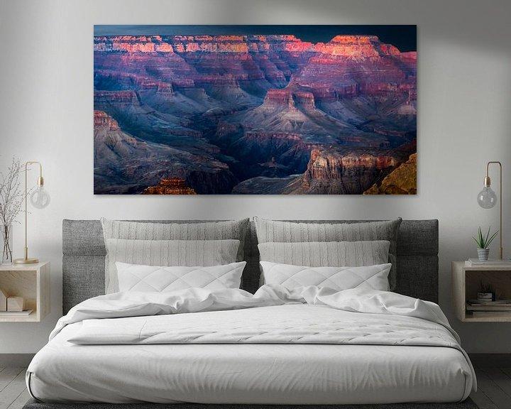 Sfeerimpressie: zonsondergang boven de Grand Canyon van Rietje Bulthuis