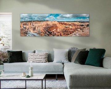 Panorama van amphitheater, Bryce Canyon, Utah van Rietje Bulthuis