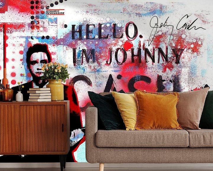 Sfeerimpressie behang: Hello I'm Johnny Cash #2 van Feike Kloostra