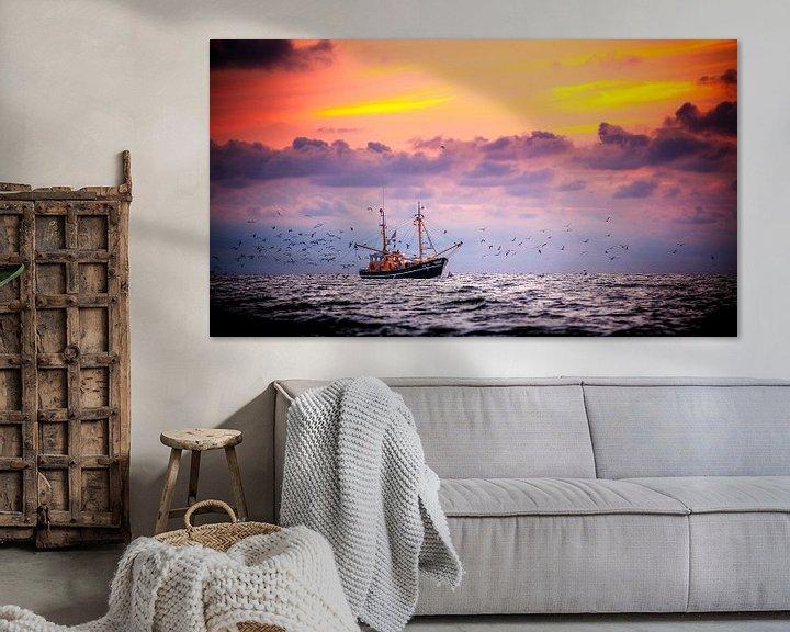 Impression: Garnalenkotter voor de kust van Ameland sur Karel Pops